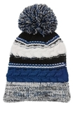 Pom Pom Team Beanie True Royal with Black and White Thumbnail