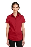 Women's Short Sleeve SuperPro Twill Shirt Rich Red Thumbnail