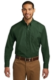 Port Authority Long Sleeve Carefree Poplin Shirt Deep Forest Green Thumbnail