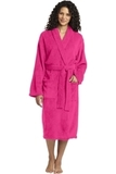 Plush Microfleece Shawl Collar Robe Pink Raspberry Thumbnail
