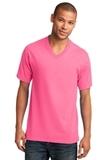 5.4-oz 100 Cotton V-neck T-shirt Neon Pink Thumbnail