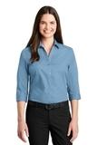 Women's 3/4Sleeve Carefree Poplin Shirt Carolina Blue Thumbnail