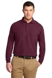 Silk Touch Long Sleeve Polo Shirt Burgundy Thumbnail