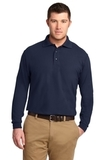 Tall Silk Touch Long Sleeve Polo Navy Thumbnail