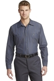 Long Size Long Sleeve Striped Industrial Work Shirt Grey with Blue Thumbnail