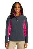 Women's Corevalue Colorblock Soft Shell Jacket Battleship Grey with Dark Rose Thumbnail