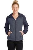 Women's Heather Colorblock Raglan Hooded Wind Jacket True Navy Heather with True Navy Thumbnail
