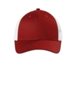 Low-Profile Snapback Trucker Cap Flame Red with White Thumbnail