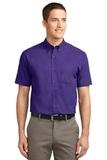 Tall Short Sleeve Easy Care Shirt Purple with Light Stone Thumbnail
