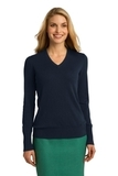 Women's Port Authority V-neck Sweater Navy Thumbnail