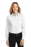 Women's Long Sleeve Easy Care Shirt White with Light Stone Thumbnail
