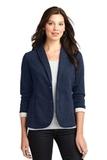 Women's Fleece Casual Blazer Dark Navy Heather Thumbnail