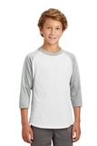Youth Colorblock Raglan Jersey White with Heather Grey Thumbnail