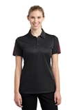 Women's Active Textured Colorblock Polo Black with True Red Thumbnail