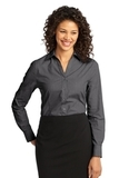 Women's Crosshatch Easy Care Shirt Soft Black Thumbnail