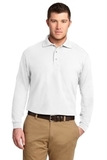 Silk Touch Long Sleeve Polo Shirt White Thumbnail