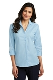 Women's 3/4Sleeve Micro Tattersall Easy Care Shirt Heritage Blue with Royal Thumbnail
