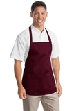 Medium Length Apron With Pouch Pockets Maroon Thumbnail