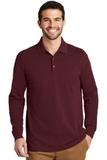 EZ-Cotton Long Sleeve Polo Maroon Thumbnail