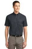 Tall Short Sleeve Easy Care Shirt Classic Navy with Light Stone Thumbnail
