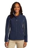 Women's Corevalue Colorblock Soft Shell Jacket Dress Blue Navy with Battleship Grey Thumbnail