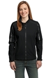 Women's Embark Soft Shell Jacket Black with Deep Grey Thumbnail