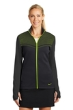 Women's Nike Golf Therma-FIT Hypervis Full-Zip Jacket Black with Volt Thumbnail
