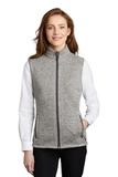 Women's Sweater Fleece Vest Grey Heather Thumbnail