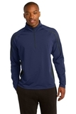 Sport-wick Stretch 1/2-zip Colorblock Pullover True Navy with Charcoal Grey Thumbnail