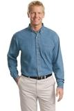 Tall Long Sleeve Denim Shirt Faded Blue Thumbnail