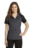 Women's Colorblock Micropique Sport-Wick Polo Iron Grey with Black Thumbnail