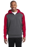 Sport-tek Colorblock Tech Fleece 1/4-zip Hooded Sweatshirt Graphite Heather with True Red Thumbnail