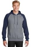 Raglan Colorblock Pullover Hooded Sweatshirt True Navy with Vintage Heather Thumbnail