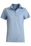 Women's Short Sleeve Blended Pique Polo Blue Thumbnail