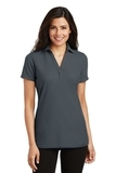 Women's Silk Touch Y-Neck Polo Shirt Steel Grey Thumbnail