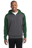Sport-tek Colorblock Tech Fleece 1/4-zip Hooded Sweatshirt Graphite Heather with Forest Green Thumbnail