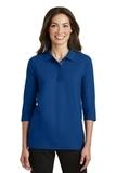 Women's Silk Touch 3/4-sleeve Polo Shirt Royal Thumbnail