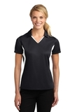 Women's Side Blocked Micropique Polo Shirt Black with White Thumbnail