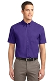 Tall Short Sleeve Easy Care Shirt Purple with Light Stone Thumbnail