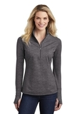 Women's Sport-Wick Stretch Reflective Heather 1/2-Zip Pullover Charcoal Grey Thumbnail