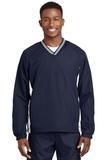 Tipped V-neck Raglan Wind Shirt True Navy with White Thumbnail