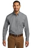 Port Authority Long Sleeve Carefree Poplin Shirt Gusty Grey Thumbnail