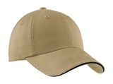 Sandwich Bill Cap With Striped Closure Khaki with Charcoal Blue Thumbnail