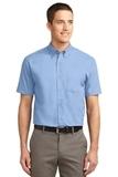 Tall Short Sleeve Easy Care Shirt Light Blue with Light Stone Thumbnail