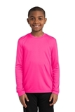 Youth Long Sleeve Competitor Tee Neon Pink Thumbnail