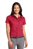 Women's Short Sleeve Easy Care Shirt Red with Light Stone Thumbnail