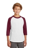 Youth Colorblock Raglan Jersey White with Cardinal Thumbnail