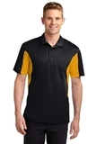Side Blocked Performance Micropique Polo Shirt Black with Gold Thumbnail