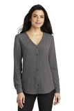 Women's Long Sleeve Button-Front Blouse Sterling Grey Thumbnail