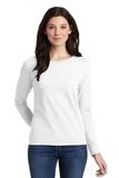 Women's Heavy Cotton 100 Cotton Long Sleeve TShirt White Thumbnail